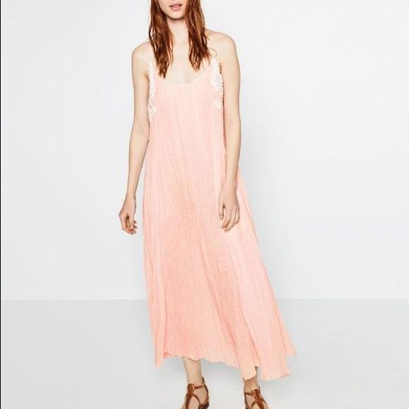 7695e6bfc53 NWT Zara STUDIO Peach Pink Gauze Linen Maxi Dress